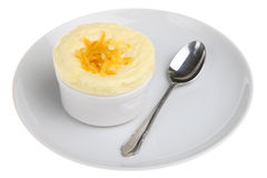 Orange Mousse Dessert. Garnished with peel Royalty Free Stock Photos