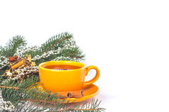 Orange mug on a Christmas background stock photo