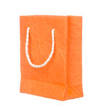 Orange mulberry paper bag isolated on white Stock Images