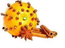 Orange with mulled wine ingredients Stock Photo