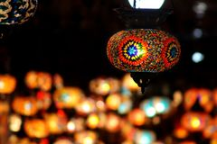 Orange and Multicolored Stain Glass Lampshade stock photos