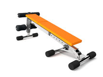 Orange multifunctional bench reverse. 3d rendering of a multifunctional bench for abdominal and lifting royalty free illustration