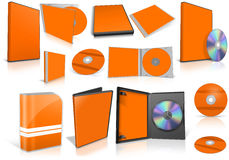 Orange multimedia disks and boxes on white Royalty Free Stock Photos