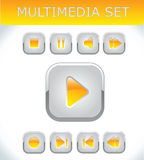 Orange multimedia set. Vector multimedia buttons Royalty Free Stock Photos