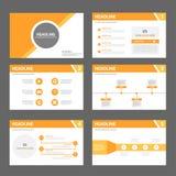 Orange multipurpose Brochure flyer leaflet template flat design. Orange templates flat design set for brochure flyer leaflet advertising marketing banner Stock Photography