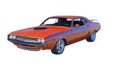 Orange muscle car with black stripes. Retro orange muscle car with hood scoop and black stripes Stock Images