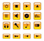 Orange music control buttons Royalty Free Stock Images
