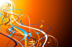 Orange musical background with notes. Royalty Free Stock Photo