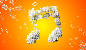 Orange Musical Note Particles 3D Royalty Free Stock Photo