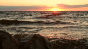 Orange mystic sunset over seascape stock video footage