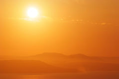 Orange mystic sunset in the russian primorye Royalty Free Stock Photo