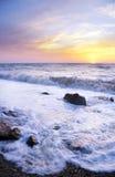 Orange mystic sunset on the sea. Stock Image