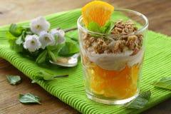Orange Nachtisch mit Sahne und Keksen Lizenzfreies Stockfoto