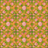 Orange nahtloses mit Blumenmuster Aquarellhandmalereiverzierung vektor abbildung