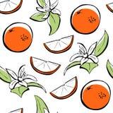 Orange nahtloses Muster der Blume und der Frucht stock abbildung