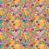 Orange nahtloses Muster der japanischen Faneule Stockfotos
