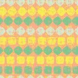 Orange nahtloses Muster des Vektors von Diamant- und Quadratstreifen mit Schmutzbeschaffenheit Passend für Gewebe, Geschenkverpac stock abbildung
