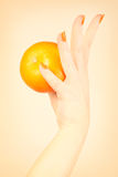 Orange nails manicure Royalty Free Stock Photo