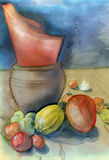 Orange napkins. Kitchen table with orange napkins, harvested tomatoes, fruit and small tea light. Original watercolor and gouache painting Stock Photos