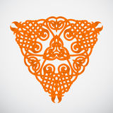 Orange native triangle ornament. Knotted orange native triangle ornament on white background Stock Photography