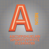 Orange Neon Alphabet and Numbers Vector Royalty Free Stock Image