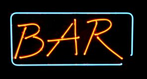 Orange neon bar sign Royalty Free Stock Photos