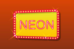 Orange neon sign Stock Photos