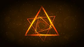 Orange neon triangle of lines, spirograph. Abstract dark background. Vector illustration. royalty free illustration