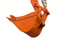 Orange new excavator bucket. Orange clear excavator bucket isolated over white with clipping path. Close up Royalty Free Stock Images