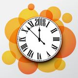 2018 New Year background with clock. Orange 2018 New Year background with clock. Vector paper illustration royalty free illustration