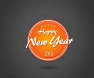 Orange New year label Royalty Free Stock Images