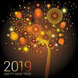 Orange New Year tree with sparkling fireworks on an orange background. For the new year 2019 royalty free illustration