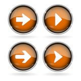 Orange Next buttons with chrome frame. Round glass shiny 3d icons with arrows. Vector illustration isolated on white background Royalty Free Stock Photo