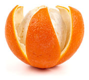 Orange with notched peel. Isolated on white royalty free stock images