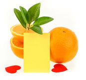 Orange and notepaper Royalty Free Stock Photography