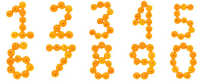 Orange numbers Stock Photography