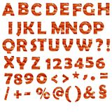 Orange numbers and signs on white background. Orange alphabet numbers and signs filled with carrots Stock Photography