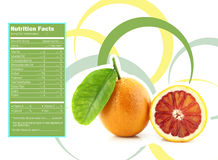Orange nutrition facts. Creative Design for Orange with Nutrition facts label Royalty Free Stock Photos