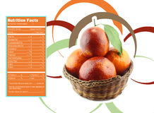 Orange nutrition facts. Creative Design for Orange with Nutrition facts label Stock Photography