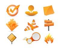 Orange objects icon set illustration Stock Photography