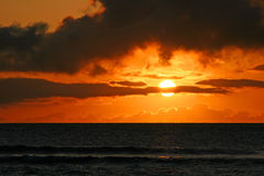 Orange ocean sunset Royalty Free Stock Photos