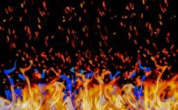 Orange och blåa flammor, bränning, på en svart bakgrund royaltyfria bilder