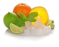 Orange och saftig limefrukt, mintkaramell arkivfoto