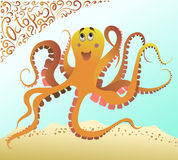 Orange octopus in the blue sea ocean. Vector cartoon pictures with lace logo. Stock Image