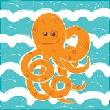 Orange Octopus in a Blue Waves. Vector Illustration painted with brush Stock Photography
