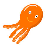 Orange Octopus vector cartoon. Cartoon funny octopus  vector illustration Royalty Free Stock Photos