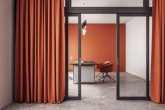 Orange office interior. With curtains, glass door and desktop. 3D Rendering stock illustration