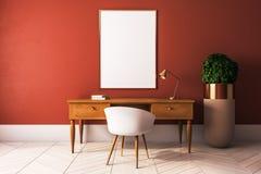 Orange office with poster. Modern orange interior with desktop, empty poster above and decorative plant. Mock up, 3D Rendering vector illustration