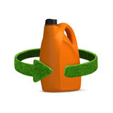 Orange oil canister recycle concept isolation on white Stock Image