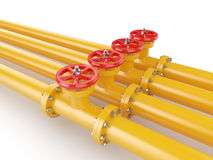 Orange oil pipes with red valve Royalty Free Stock Images
